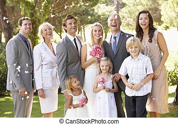 familie gruppe, an, wedding