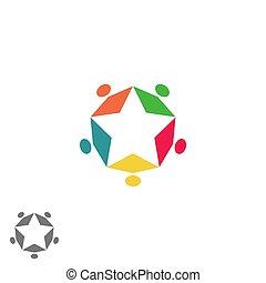 familie gruppe, erfolg, geschäftsmenschen, stern, abstrakt, partnerschaft, gemeinschaft, gemeinschaftsarbeit, logo, form, versammlung, symbol, bunte