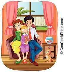 familie gruppe, foto, sitzen sofa