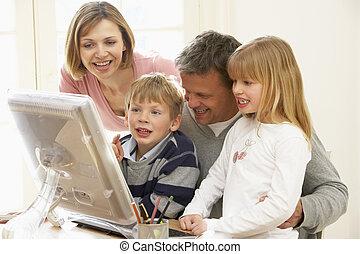 familie gruppe, verwenden computers