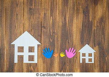 familie, hænder, hos, avis, hus