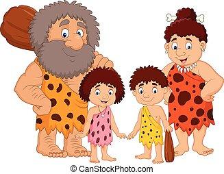 familie, höhlenmensch, isolieren, hintergrund, weißes, karikatur