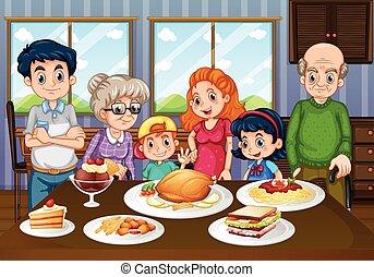 familie, haben, mahlzeit, zusammen, in, esszimmer