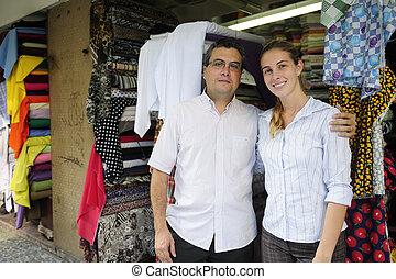 familie handel, partners, eigenaars, van, een, kleine, boekhandel