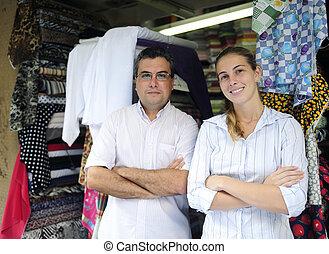familie handel, partners, eigenaars, van, een, weefsel, winkel