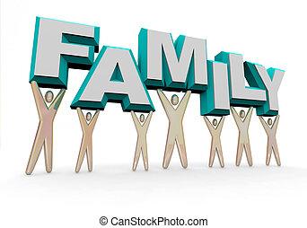 familie, -, heben, der, wort