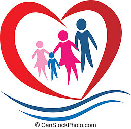 familie, herz, logo, vektor