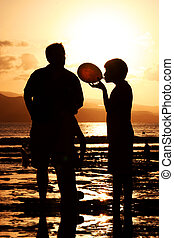 familie, hos, solnedgang