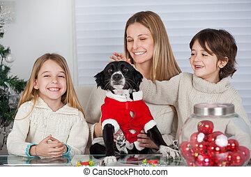 familie, hos, yndling, hund, hjem hos, during, jul