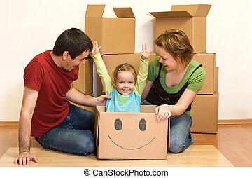 familie, ihr, neues heim, auspacken, glücklich