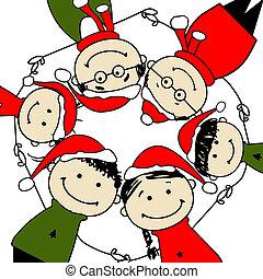 familie, illustration, konstruktion, merry, christmas!, din, glade