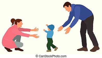 familie, illustration, vektor, mom., går, baby, steps., begivenhed, først