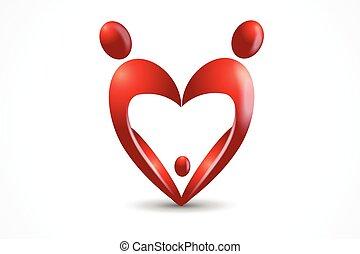 familie, image, hjerte, vektor, facon, logo