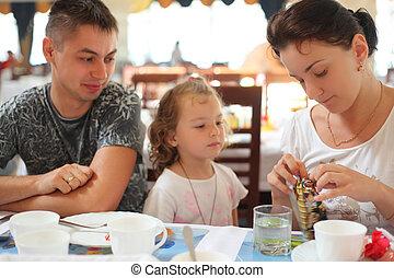 familie, in, café