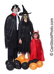 familie, in, kostüm halloween