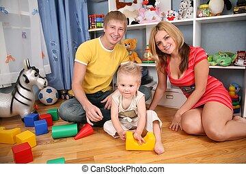 familie, in, spielzimmer