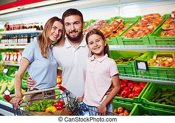 familie, in, supermarkt