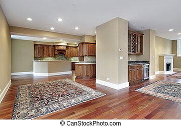 familie kamer, met, kers, hout, vloeren