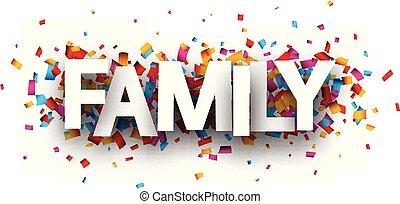 familie, karte, bunte, confetti.