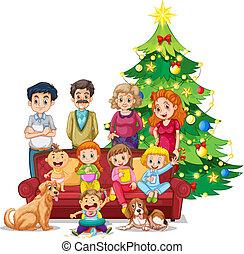 familie kerstmis, bijeenkomst