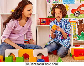 familie, kind, spielende , bricks.