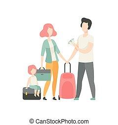 familie, koffer, mutter, abbildung, vektor, vater, reisen, glücklich, kind