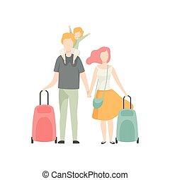 familie, koffer, urlaub, abbildung, vektor, vater, mutter, reisen, glücklich, kind