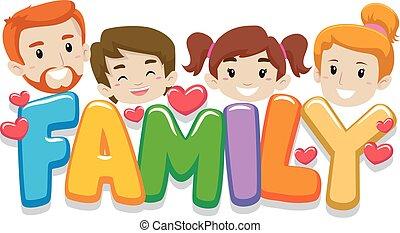 familie, kopf, mit, briefe