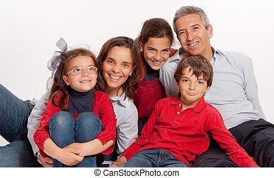 familie, lachender, zusammen