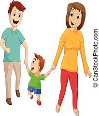 familie laufen, zusammen