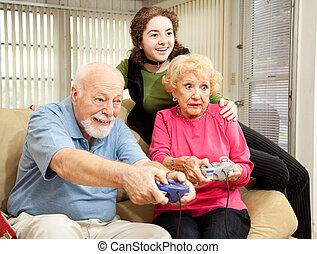 familie, lege, boldspil video