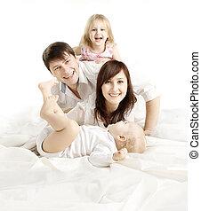 familie, leute, aus, vater, freigestellt, kinder, vier, hintergrund, eltern, mutter, weißes, glücklich, baby, kind