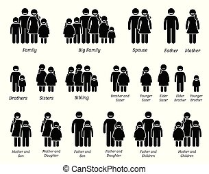 familie, leute, icons.