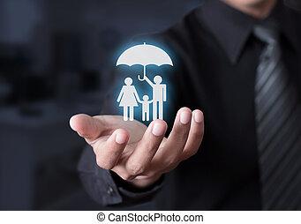 familie leven, verzekering, concept