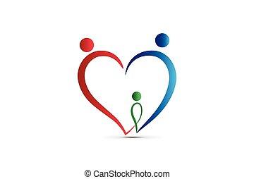 familie, logo, hjerte form, sammenslutning