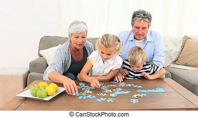 familie, machen, a, puzzel