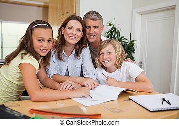 familie, machen, hausaufgabe
