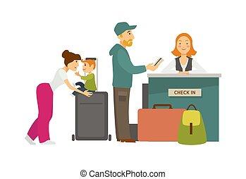 familie, mit, gepäck, an, einchecken, bankschalter, mit, empfangsdame