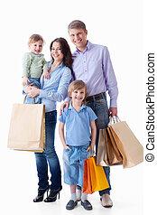 familie, mit, shoppen