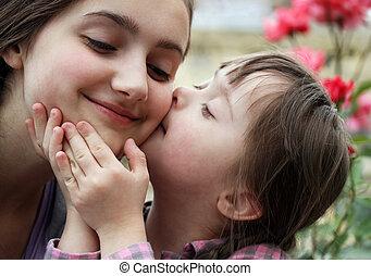 familie momenten, kind, -, hebben, moeder, fun., vrolijke
