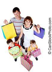 familie, nach, shoppen