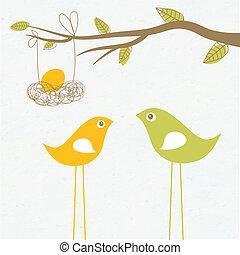 familie, nest, baby, ankommen, ei, vögel, karte