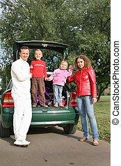 familie, og, automobilen, 2