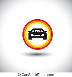 familie, og, automobilen, ikon, hos, circles:, forældre, og, børn, på, rejse, og, outing, -, begreb, vector.
