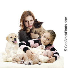 familie, og, den, hundehvalp, og, killingen