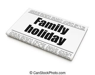 familie, overskrift, ferie, avis, ferie, concept:
