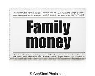 familie, overskrift, penge, bankvirksomhed, avis, concept: