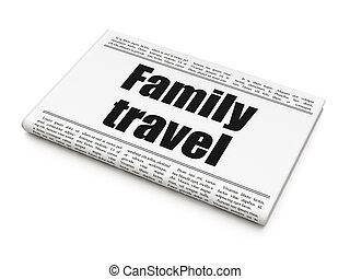 familie, overskrift, rejse, avis, turisme, concept: