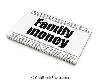 familie, overskrift, valuta penge, avis, concept: