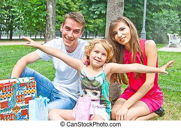 familie, park